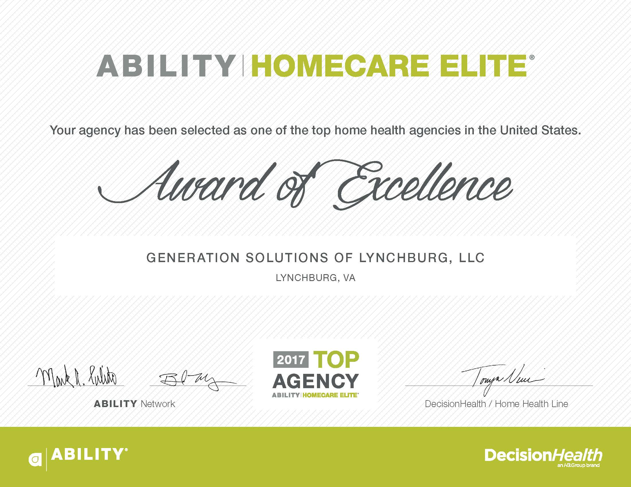 Generation Solutions In Home Elder Care Awards